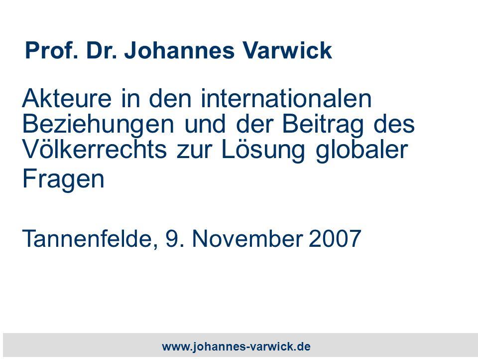 www.johannes-varwick.de Akteure in den internationalen Beziehungen und der Beitrag des Völkerrechts zur Lösung globaler Fragen Tannenfelde, 9.