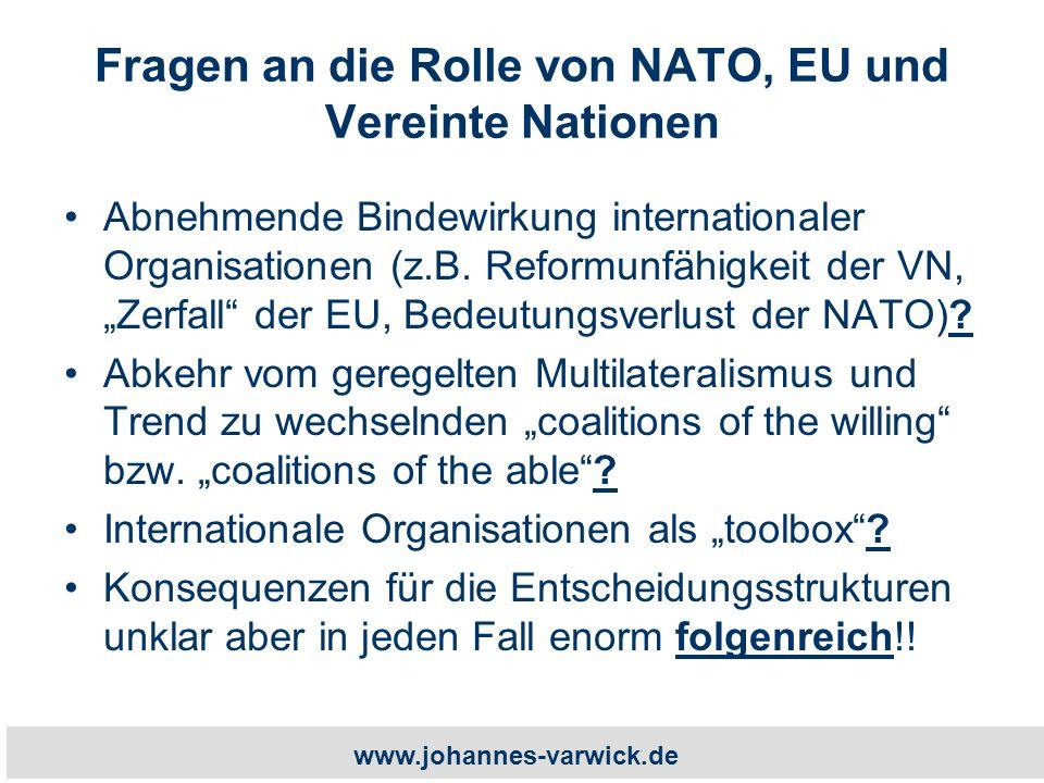 www.johannes-varwick.de Fragen an die Rolle von NATO, EU und Vereinte Nationen Abnehmende Bindewirkung internationaler Organisationen (z.B.