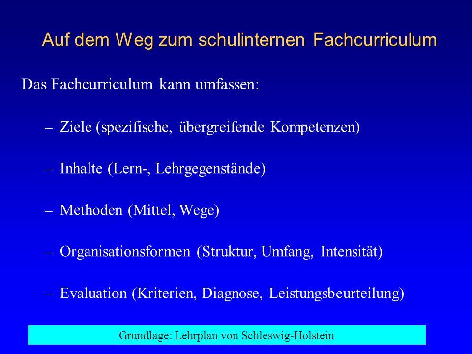 Auf dem Weg zum schulinternen Fachcurriculum Das Fachcurriculum kann umfassen: – Ziele (spezifische, übergreifende Kompetenzen) – Inhalte (Lern-, Lehr