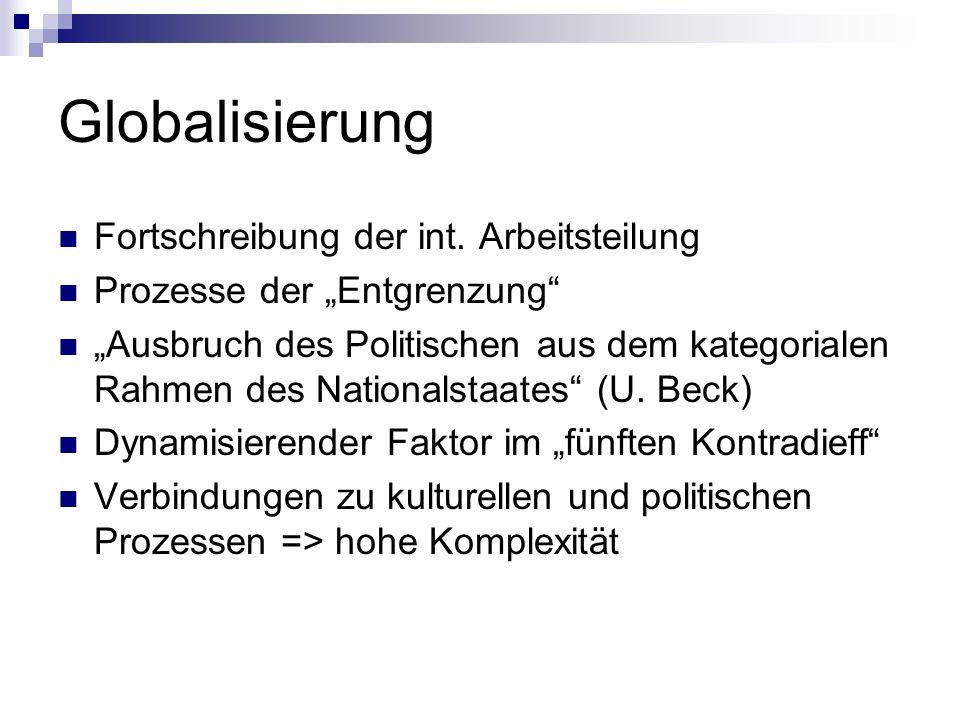 Globalisierung Fortschreibung der int. Arbeitsteilung Prozesse der Entgrenzung Ausbruch des Politischen aus dem kategorialen Rahmen des Nationalstaate