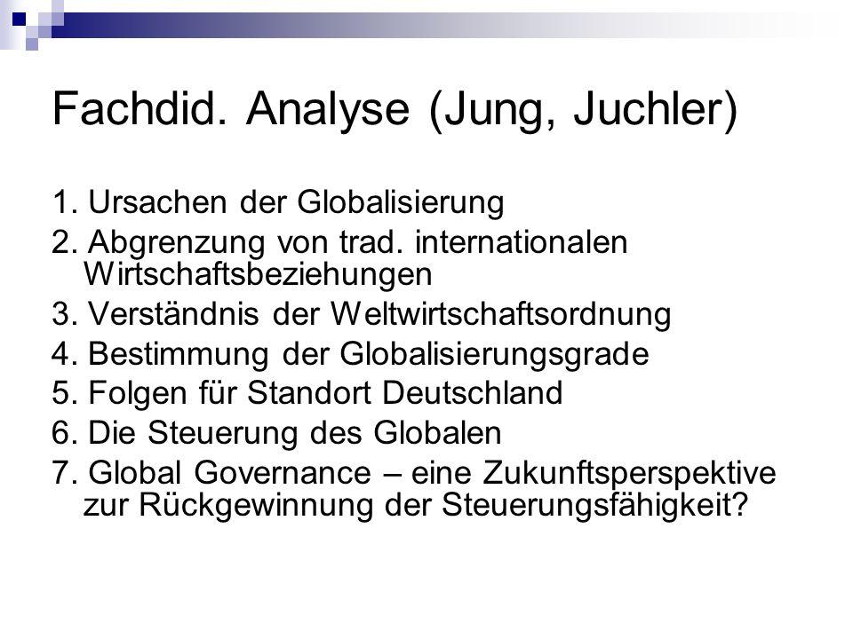 Fachdid. Analyse (Jung, Juchler) 1. Ursachen der Globalisierung 2. Abgrenzung von trad. internationalen Wirtschaftsbeziehungen 3. Verständnis der Welt