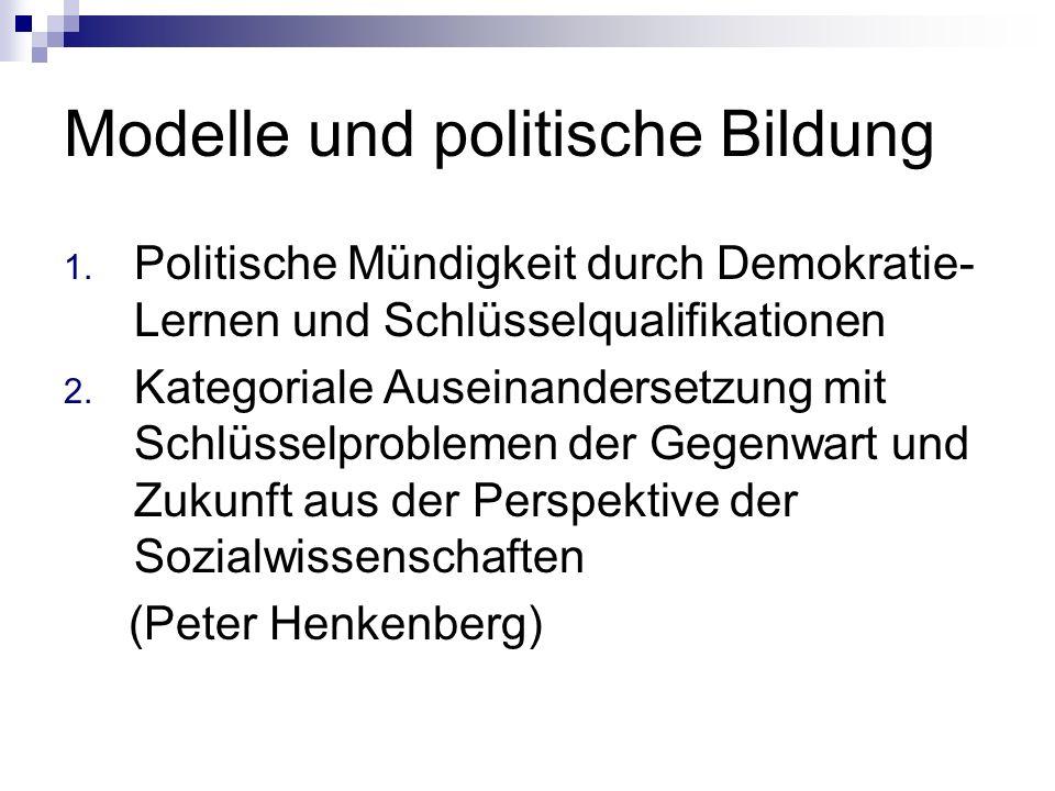 Modelle und politische Bildung 1. Politische Mündigkeit durch Demokratie- Lernen und Schlüsselqualifikationen 2. Kategoriale Auseinandersetzung mit Sc