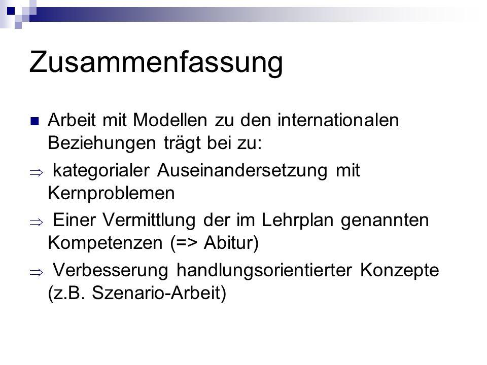 Zusammenfassung Arbeit mit Modellen zu den internationalen Beziehungen trägt bei zu: kategorialer Auseinandersetzung mit Kernproblemen Einer Vermittlu