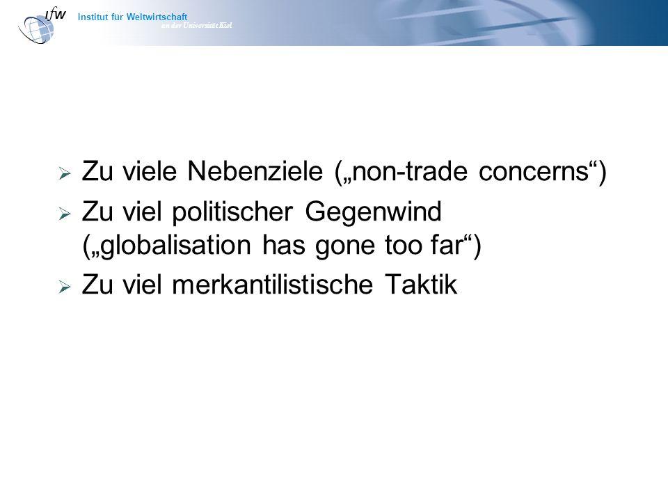 Institut für Weltwirtschaft an der Universität Kiel Zu viele Nebenziele (non-trade concerns) Zu viel politischer Gegenwind (globalisation has gone too far) Zu viel merkantilistische Taktik