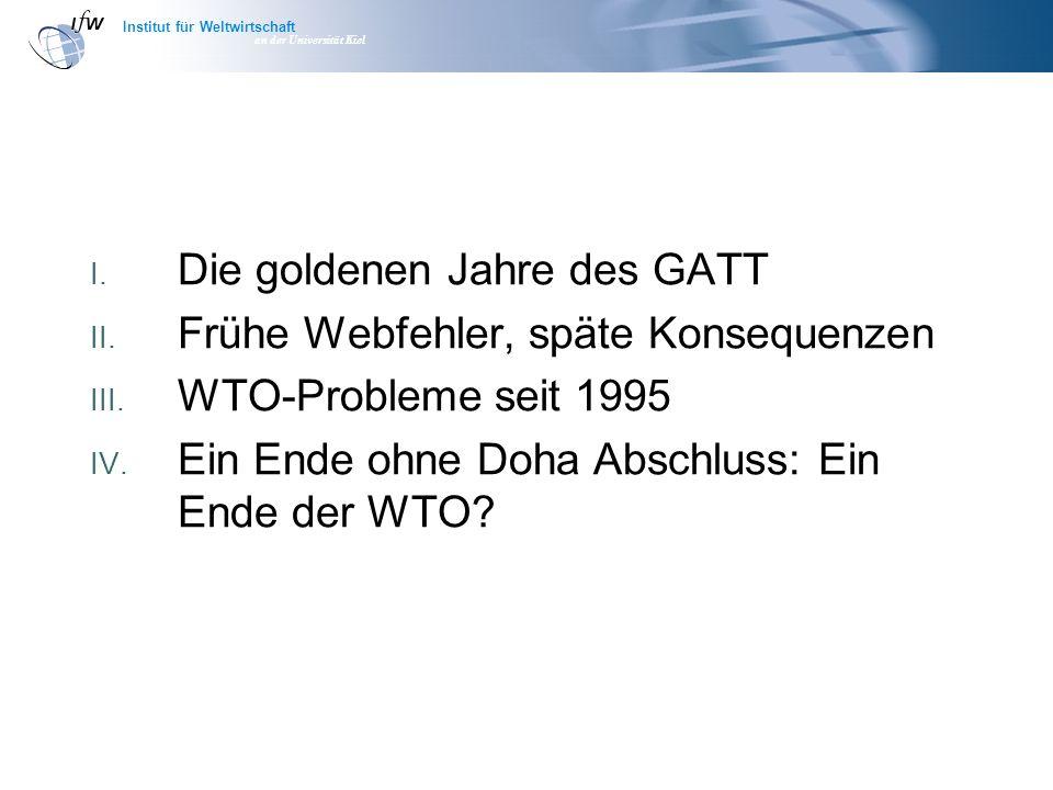 Institut für Weltwirtschaft an der Universität Kiel I. Die goldenen Jahre des GATT II. Frühe Webfehler, späte Konsequenzen III. WTO-Probleme seit 1995