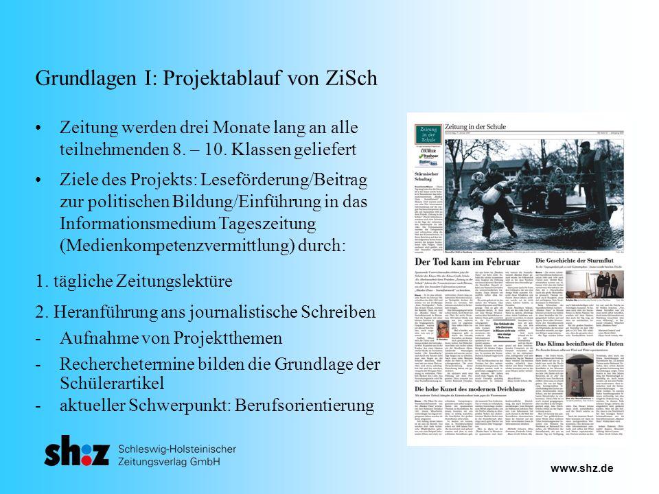 www.shz.de Grundlagen I: Projektablauf von ZiSch Zeitung werden drei Monate lang an alle teilnehmenden 8. – 10. Klassen geliefert Ziele des Projekts: