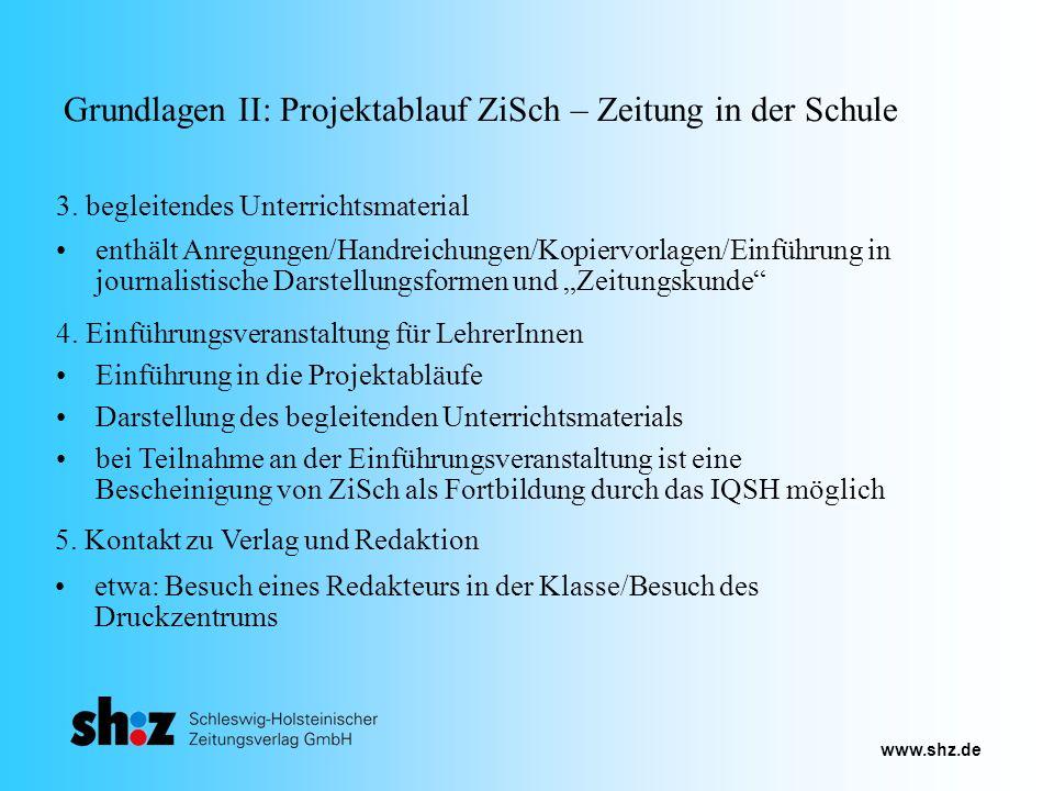 www.shz.de Grundlagen II: Projektablauf ZiSch – Zeitung in der Schule 4. Einführungsveranstaltung für LehrerInnen 3. begleitendes Unterrichtsmaterial