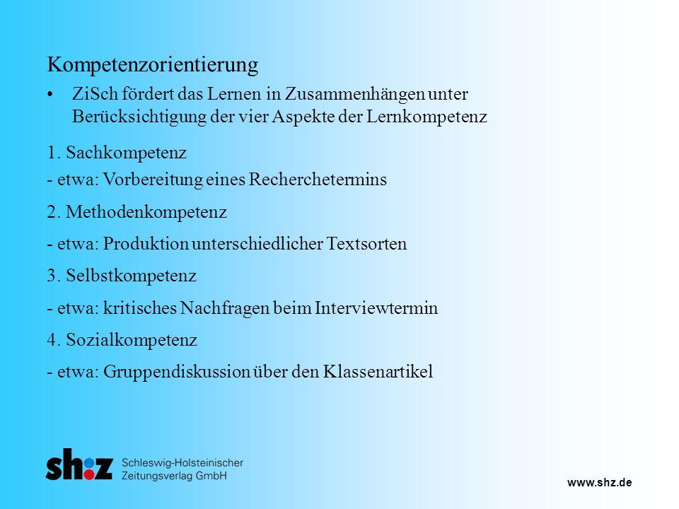 www.shz.de Kompetenzorientierung ZiSch fördert das Lernen in Zusammenhängen unter Berücksichtigung der vier Aspekte der Lernkompetenz 3. Selbstkompete