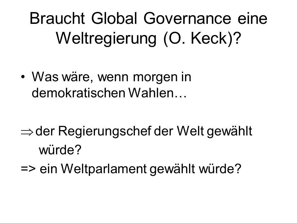 Braucht Global Governance eine Weltregierung (O. Keck)? Was wäre, wenn morgen in demokratischen Wahlen… der Regierungschef der Welt gewählt würde? =>