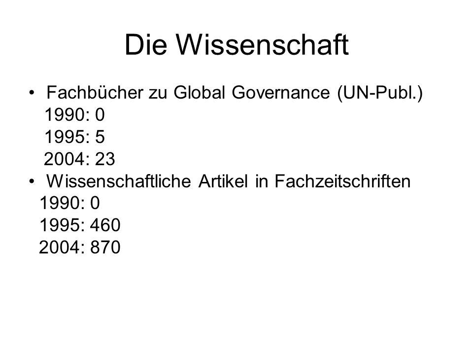 Die Wissenschaft Fachbücher zu Global Governance (UN-Publ.) 1990: 0 1995: 5 2004: 23 Wissenschaftliche Artikel in Fachzeitschriften 1990: 0 1995: 460