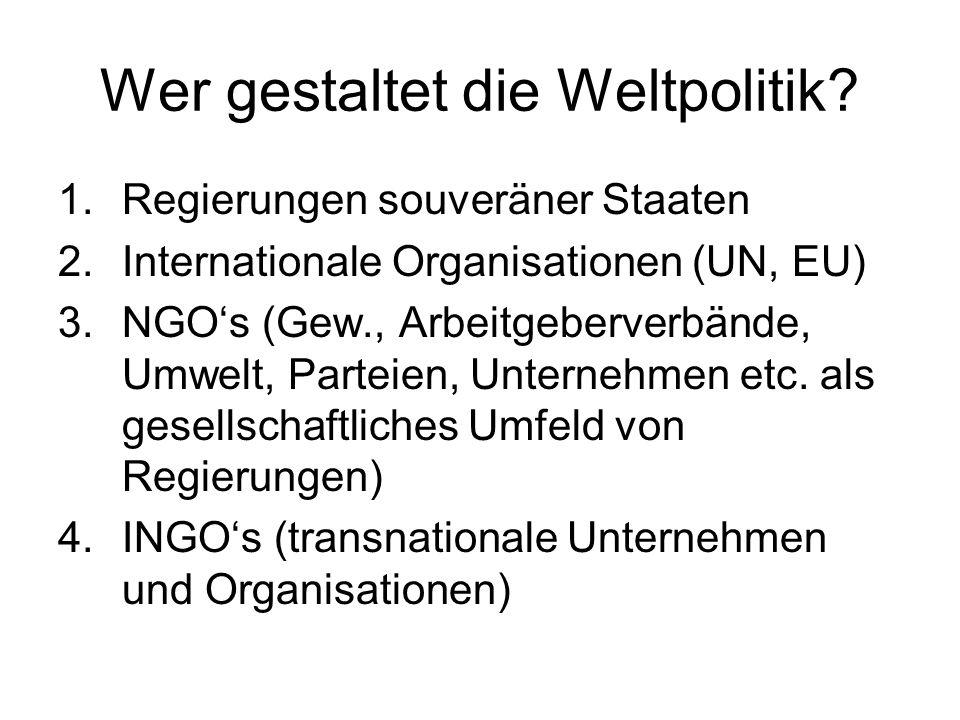 Wer gestaltet die Weltpolitik? 1.Regierungen souveräner Staaten 2.Internationale Organisationen (UN, EU) 3.NGOs (Gew., Arbeitgeberverbände, Umwelt, Pa