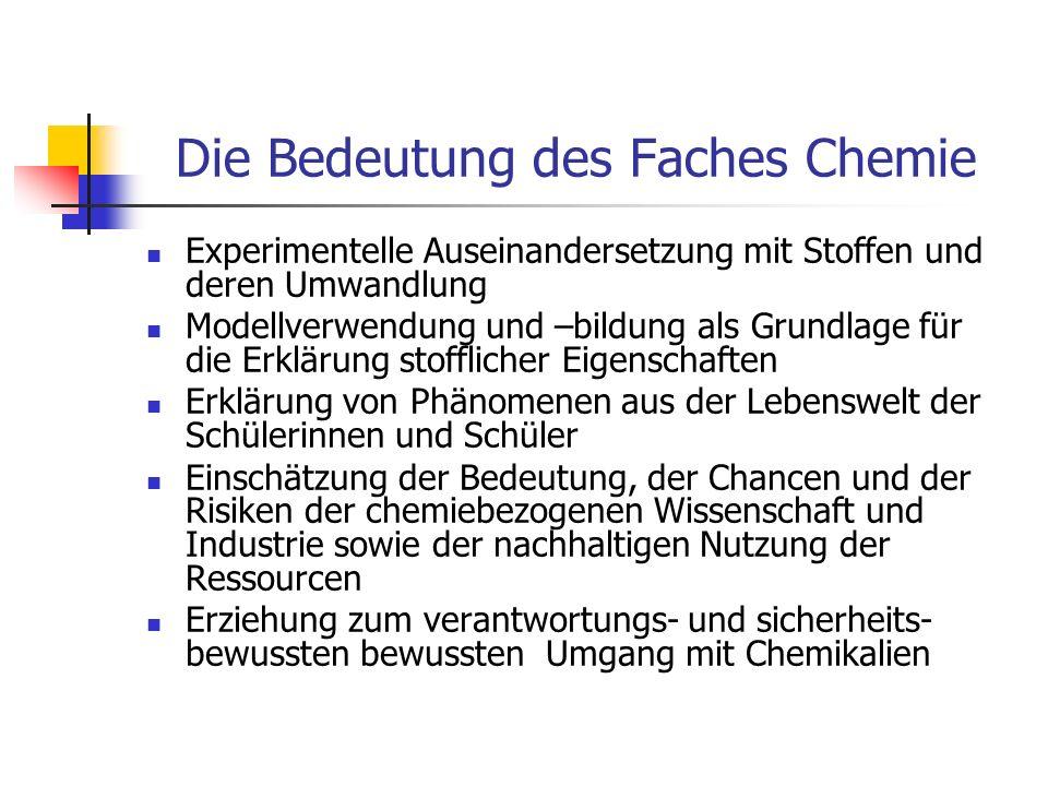 Kompetenzbereiche Fachwissen (chemische Phänomene, Begriffe, Gesetzmäßigkeiten kennen und Konzepten zuordnen - Basiskonzepte) Erkenntnisgewinnung (experimentelle und andere Untersuchungsmethoden sowie Modelle nutzen) Kommunikation (Informationen sach- und fachbezogen erschließen und austauschen) Bewertung (chemische Sachverhalte in verschiedenen Kontexten erkennen und bewerten)