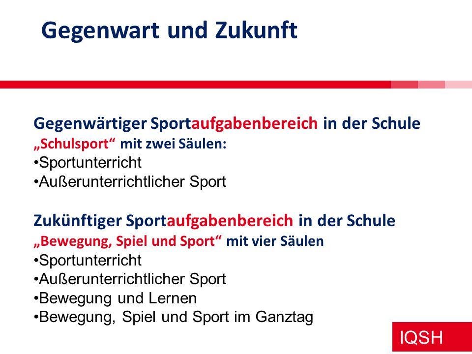 IQSH Rolle der Sportlehrkräfte in den vier Säulen Sportunterricht alleinige Zuständigkeit Außerunterrichtlicher Schulsport überwiegende Zuständigkeit Bewegung und Lernen Multiplikator Bewegung, Spiel und Sport im Ganztag sportpädagogische Fachaufsicht