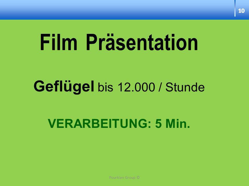 10 Film Präsentation Geflügel bis 12.000 / Stunde VERARBEITUNG: 5 Min. 10 Pourkian Group ©