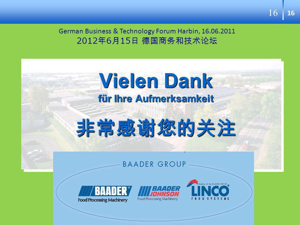 16 Vielen Dank für Ihre Aufmerksamkeit Vielen Dank für Ihre Aufmerksamkeit German Business & Technology Forum Harbin, 16.06.2011 2012 6 15