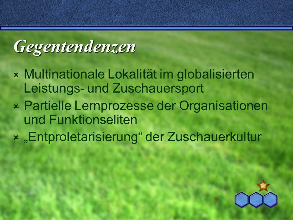 Gegentendenzen Multinationale Lokalität im globalisierten Leistungs- und Zuschauersport Partielle Lernprozesse der Organisationen und Funktionseliten
