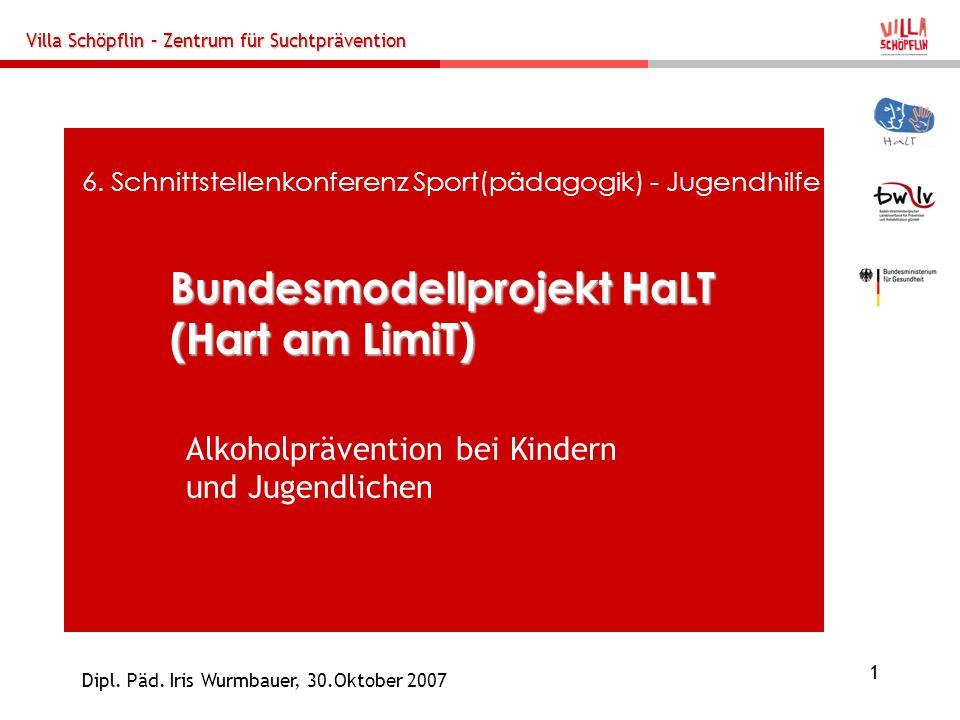 Villa Schöpflin – Zentrum für Suchtprävention 1 Dipl. Päd. Iris Wurmbauer, 30.Oktober 2007 Bundesmodellprojekt HaLT (Hart am LimiT) 6. Schnittstellenk