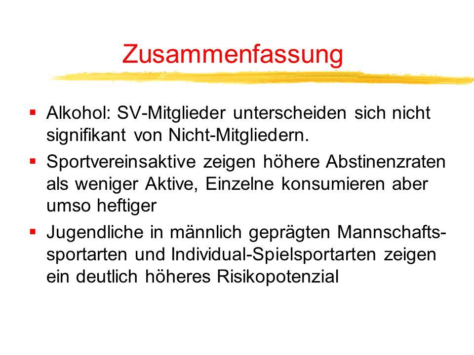Zusammenhang Alkohol/Nikotin und Protektivfaktoren bei Vereinsmitgliedern