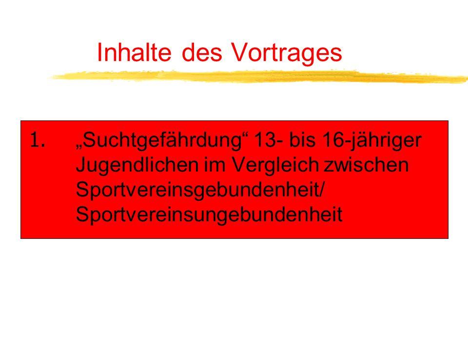 Inhalte des Vortrages 1.Suchtgefährdung 13- bis 16-Jähriger im Vergleich zwischen Sportvereinsgebundenheit/ -ungebundenheit 2. Jugend- und Übungsleite