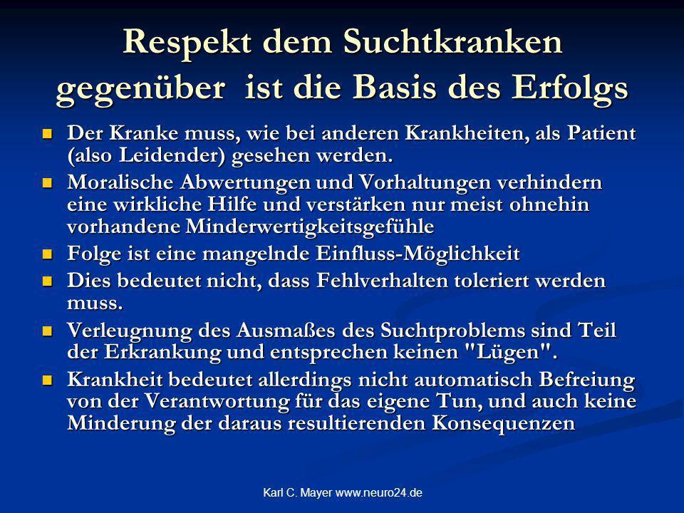 Karl C. Mayer www.neuro24.de Respekt dem Suchtkranken gegenüber ist die Basis des Erfolgs Der Kranke muss, wie bei anderen Krankheiten, als Patient (a