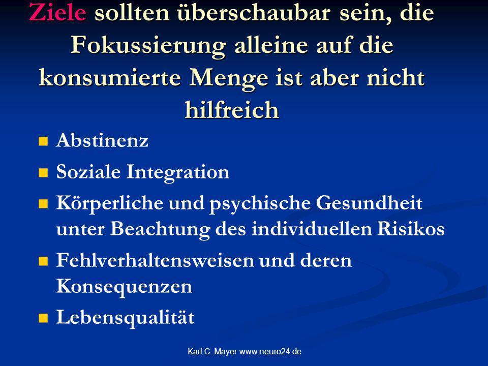 Karl C. Mayer www.neuro24.de Ziele sollten überschaubar sein, die Fokussierung alleine auf die konsumierte Menge ist aber nicht hilfreich Abstinenz So