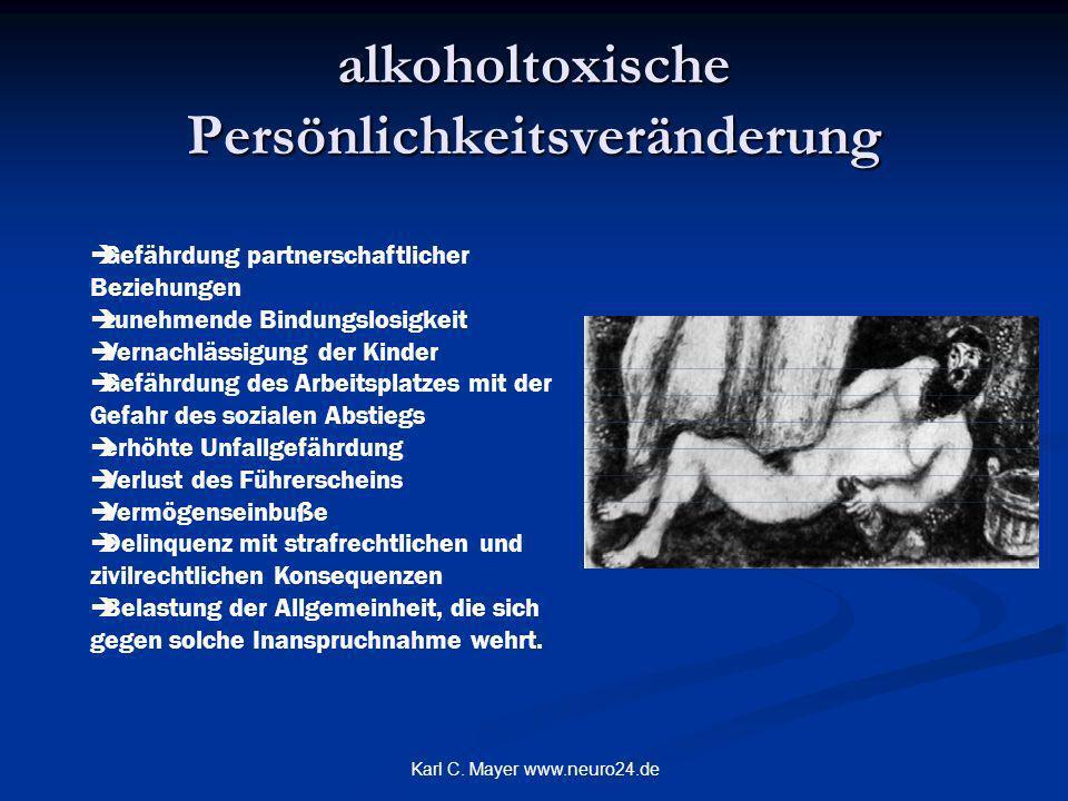 Karl C. Mayer www.neuro24.de alkoholtoxische Persönlichkeitsveränderung Gefährdung partnerschaftlicher Beziehungen zunehmende Bindungslosigkeit Vernac