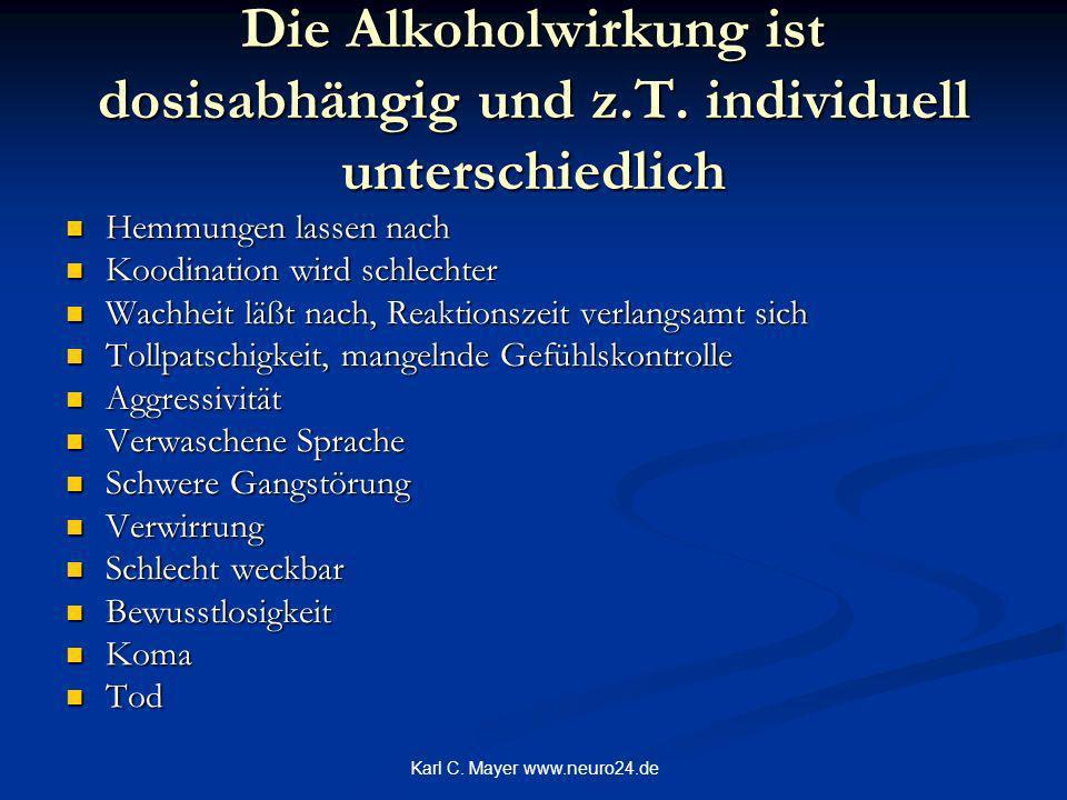 Karl C. Mayer www.neuro24.de Die Alkoholwirkung ist dosisabhängig und z.T. individuell unterschiedlich Hemmungen lassen nach Hemmungen lassen nach Koo