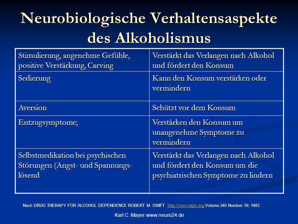 Karl C. Mayer www.neuro24.de Neurobiologische Verhaltensaspekte des Alkoholismus Stimulierung, angenehme Gefühle, positive Verstärkung, Carving Verstä