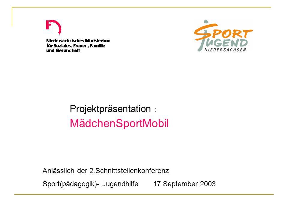MädchenSportMobil Anlässlich der 2.Schnittstellenkonferenz Sport(pädagogik)- Jugendhilfe 17.September 2003 Projektpräsentation :