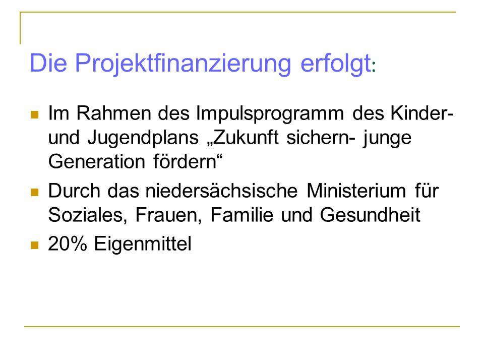 Die Projektfinanzierung erfolgt : Im Rahmen des Impulsprogramm des Kinder- und Jugendplans Zukunft sichern- junge Generation fördern Durch das niedersächsische Ministerium für Soziales, Frauen, Familie und Gesundheit 20% Eigenmittel