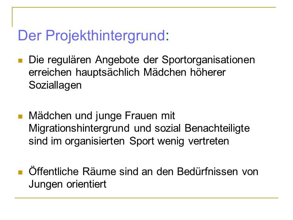 Der Projekthintergrund: Die regulären Angebote der Sportorganisationen erreichen hauptsächlich Mädchen höherer Soziallagen Mädchen und junge Frauen mi