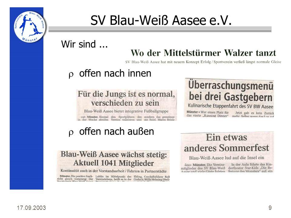 17.09.20039 SV Blau-Weiß Aasee e.V. roffen nach innen roffen nach außen Wir sind...