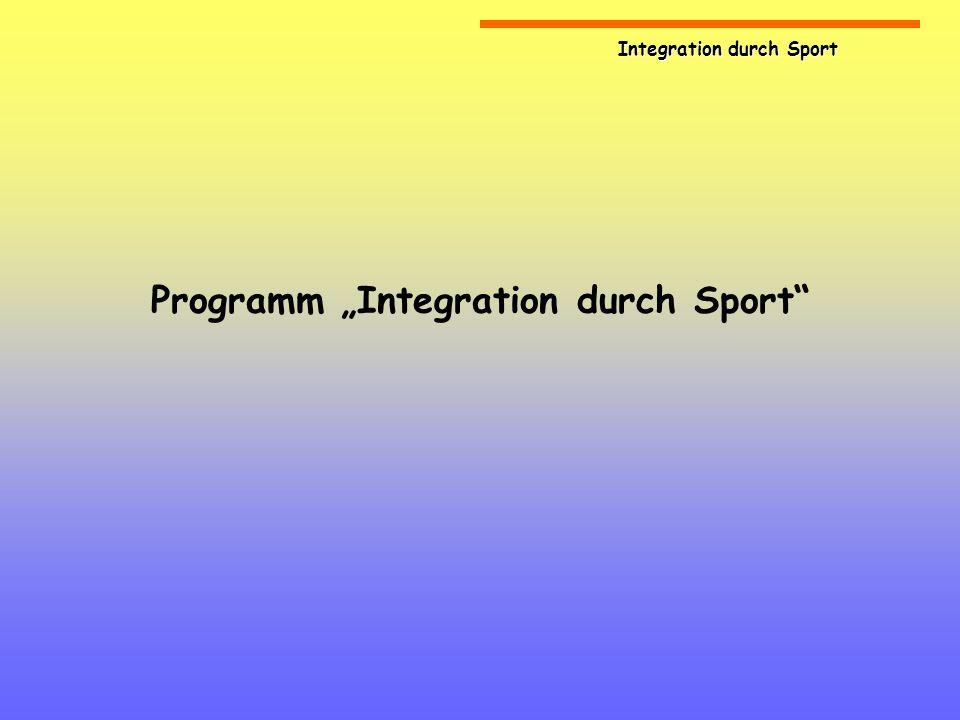 Integration durch Sport Ausgangssituation Deutschland ist faktisch ein Einwanderungsland Integration ist eine dauerhafte politische und gesellschaftliche Aufgabe Integration ist damit auch Aufgabe des organisierten Sports als Teil der Gesellschaft