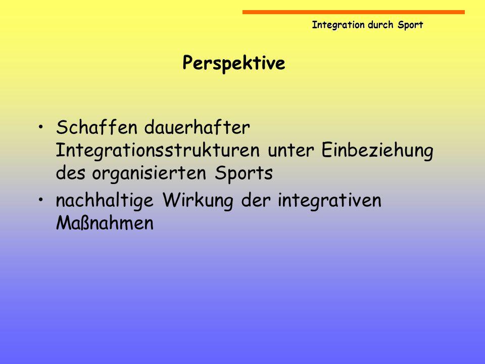Integration durch Sport Perspektive Schaffen dauerhafter Integrationsstrukturen unter Einbeziehung des organisierten Sports nachhaltige Wirkung der in