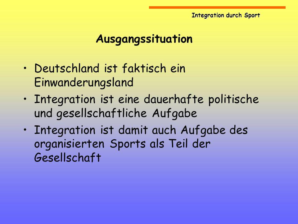 Integration durch Sport Ausgangssituation Deutschland ist faktisch ein Einwanderungsland Integration ist eine dauerhafte politische und gesellschaftli