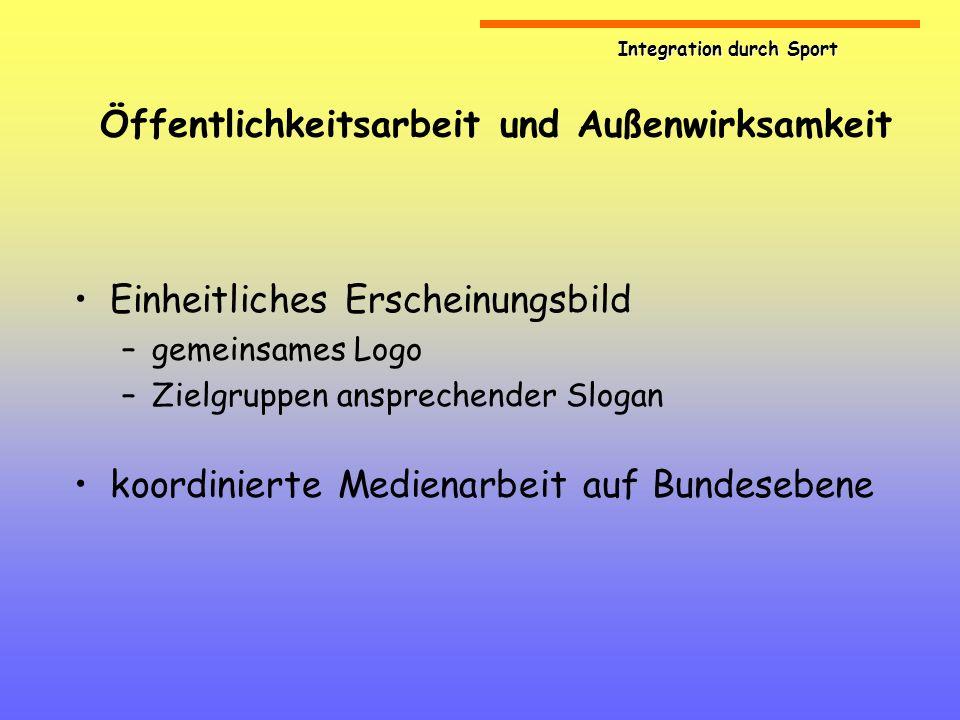 Integration durch Sport Öffentlichkeitsarbeit und Außenwirksamkeit Einheitliches Erscheinungsbild –gemeinsames Logo –Zielgruppen ansprechender Slogan