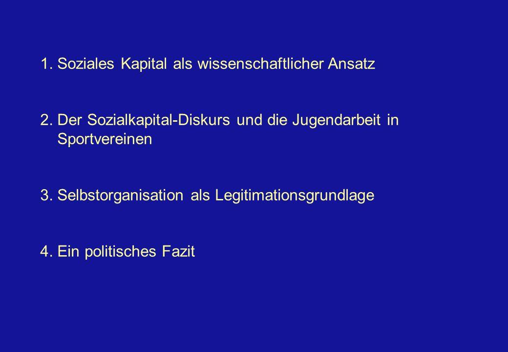 Kernelemente des Sozialkapital-Diskurses Mitgliedschaften in freiwilligen Vereinigungen bürgerschaftliches Engagement