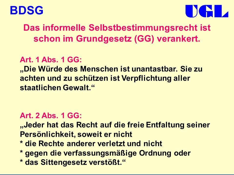 BDSG Das informelle Selbstbestimmungsrecht ist schon im Grundgesetz (GG) verankert. Art. 1 Abs. 1 GG: Die Würde des Menschen ist unantastbar. Sie zu a