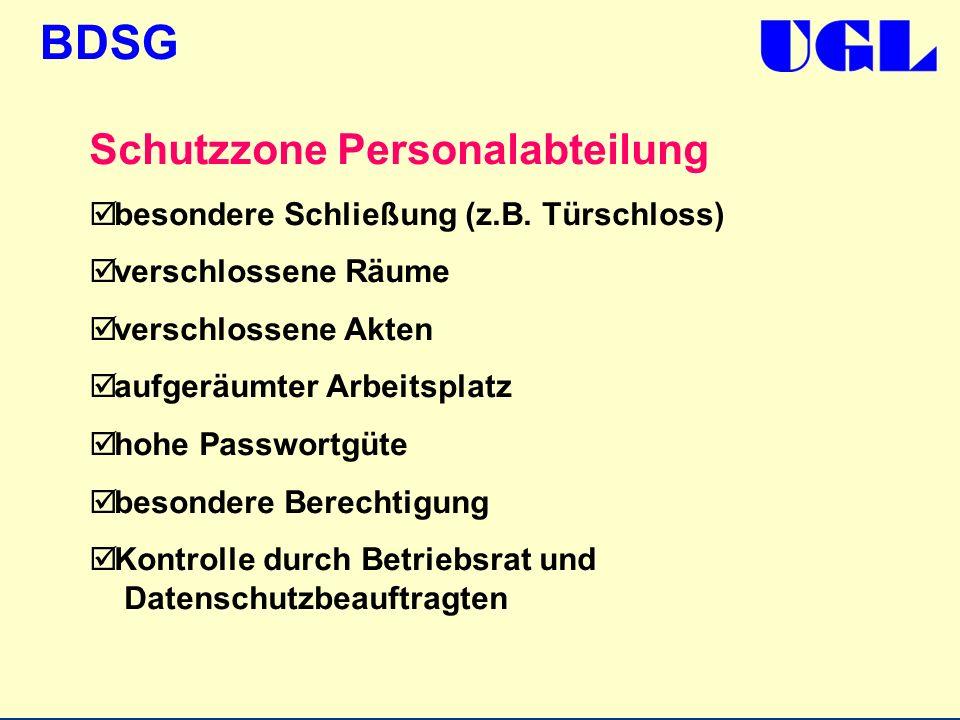 BDSG Schutzzone Personalabteilung besondere Schließung (z.B. Türschloss) verschlossene Räume verschlossene Akten aufgeräumter Arbeitsplatz hohe Passwo