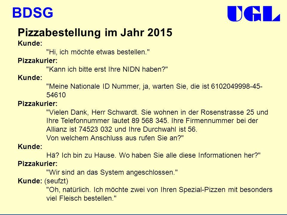 BDSG Pizzabestellung im Jahr 2015 Kunde: