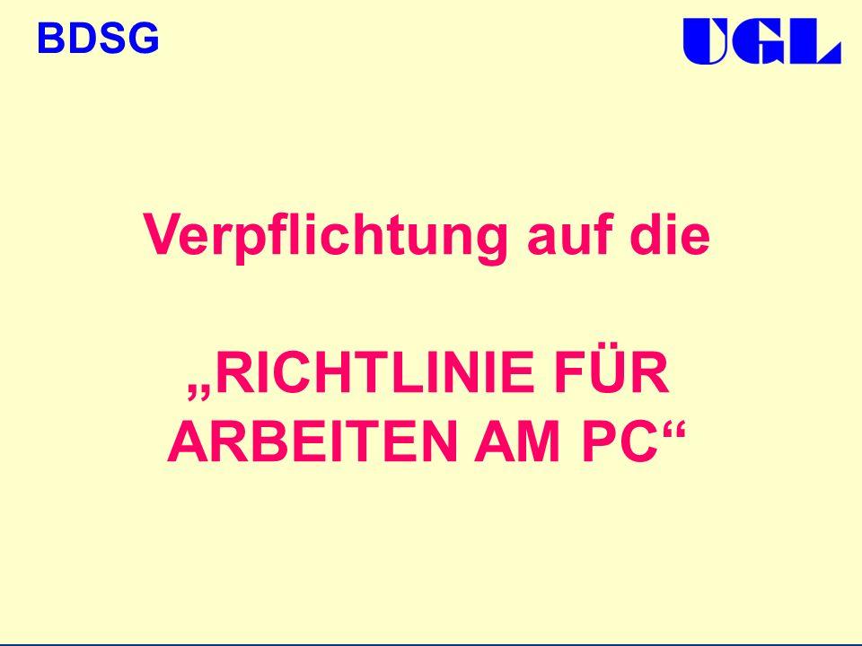 BDSG Verpflichtung auf die RICHTLINIE FÜR ARBEITEN AM PC