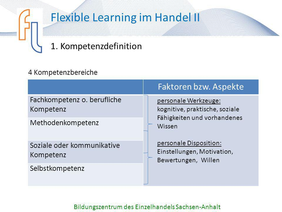 1. Kompetenzdefinition Bildungszentrum des Einzelhandels Sachsen-Anhalt Flexible Learning im Handel II 4 Kompetenzbereiche Faktoren bzw. Aspekte Fachk