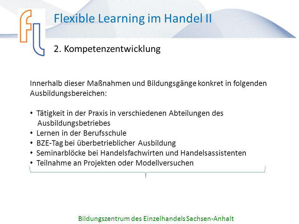 2. Kompetenzentwicklung Bildungszentrum des Einzelhandels Sachsen-Anhalt Flexible Learning im Handel II Innerhalb dieser Maßnahmen und Bildungsgänge k
