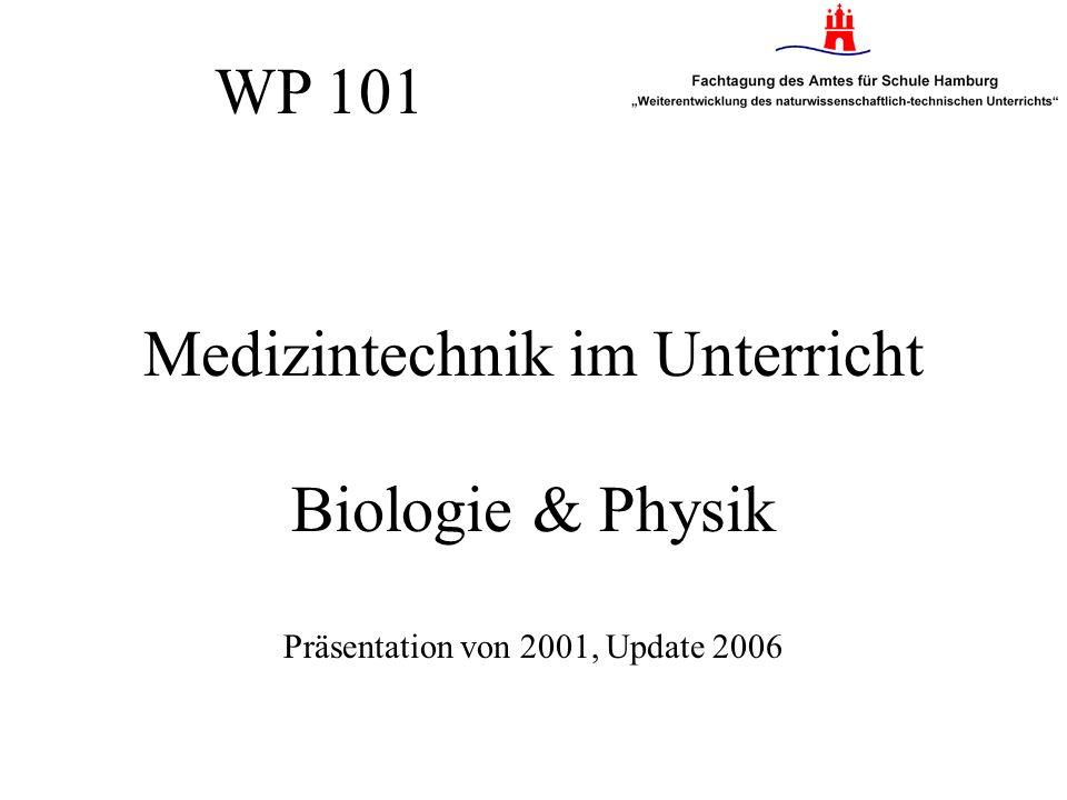 Medizintechnik im Unterricht Biologie & Physik Präsentation von 2001, Update 2006 WP 101