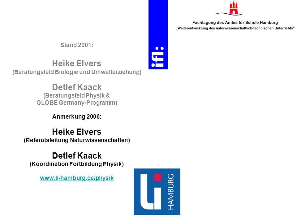 Stand 2001: Heike Elvers (Beratungsfeld Biologie und Umwelterziehung) Detlef Kaack (Beratungsfeld Physik & GLOBE Germany-Programm) Anmerkung 2006: Hei