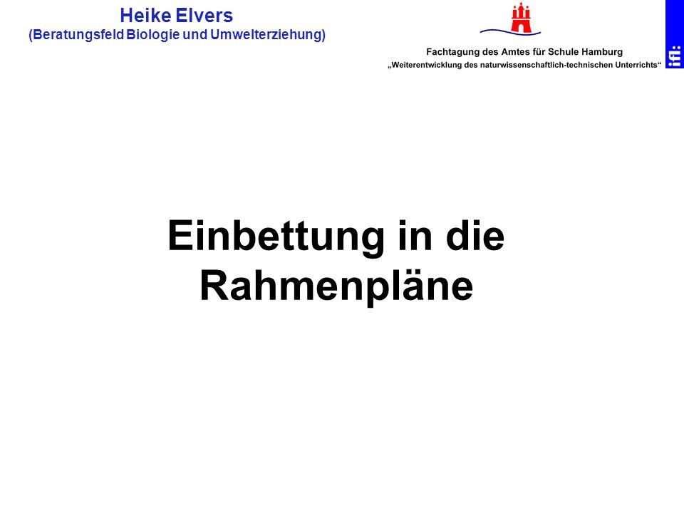 Heike Elvers (Beratungsfeld Biologie und Umwelterziehung) Einbettung in die Rahmenpläne