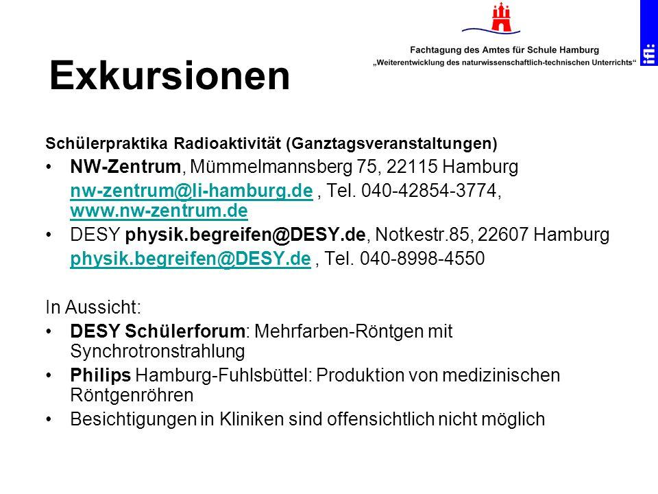 Schülerpraktika Radioaktivität (Ganztagsveranstaltungen) NW-Zentrum, Mümmelmannsberg 75, 22115 Hamburg nw-zentrum@li-hamburg.denw-zentrum@li-hamburg.d