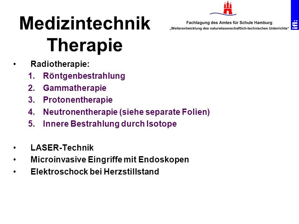 Radiotherapie: 1.Röntgenbestrahlung 2.Gammatherapie 3.Protonentherapie 4.Neutronentherapie (siehe separate Folien) 5.Innere Bestrahlung durch Isotope