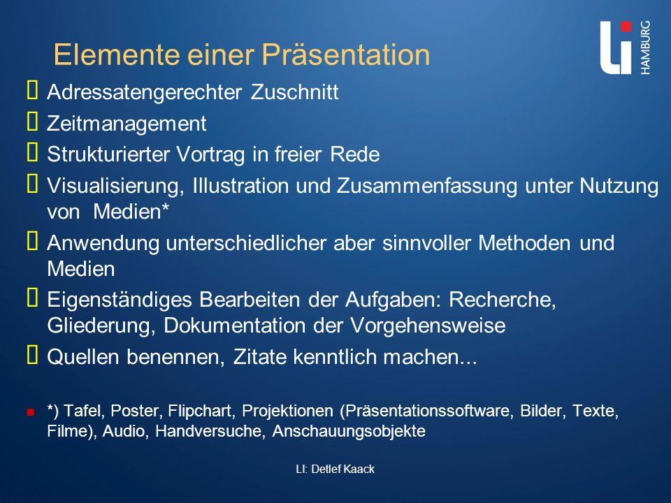 LI: Detlef Kaack Elemente einer Präsentation Adressatengerechter Zuschnitt Zeitmanagement Strukturierter Vortrag in freier Rede Visualisierung, Illust