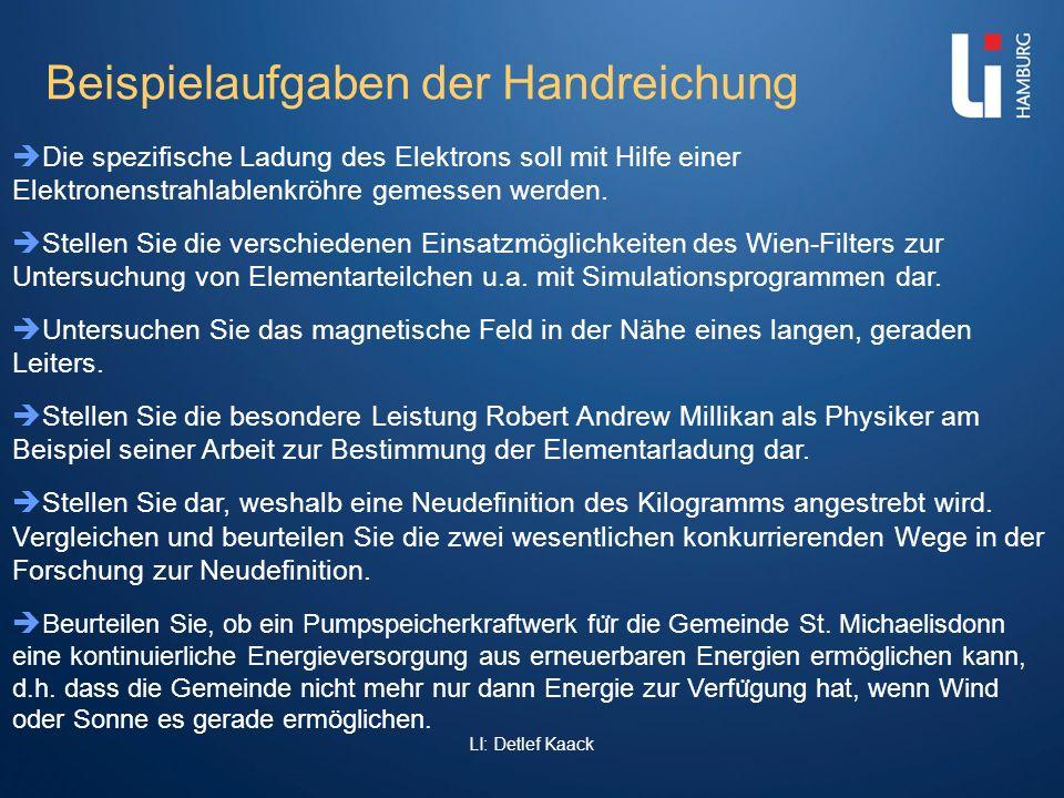 LI: Detlef Kaack Beispielaufgaben der Handreichung Die spezifische Ladung des Elektrons soll mit Hilfe einer Elektronenstrahlablenkröhre gemessen werd